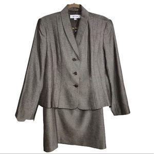 Suit Studio Heather Gray Brown 2Piece Skirt Set